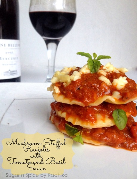 Mushroom Stuffed Ravioli with Tomato and Basil Sauce