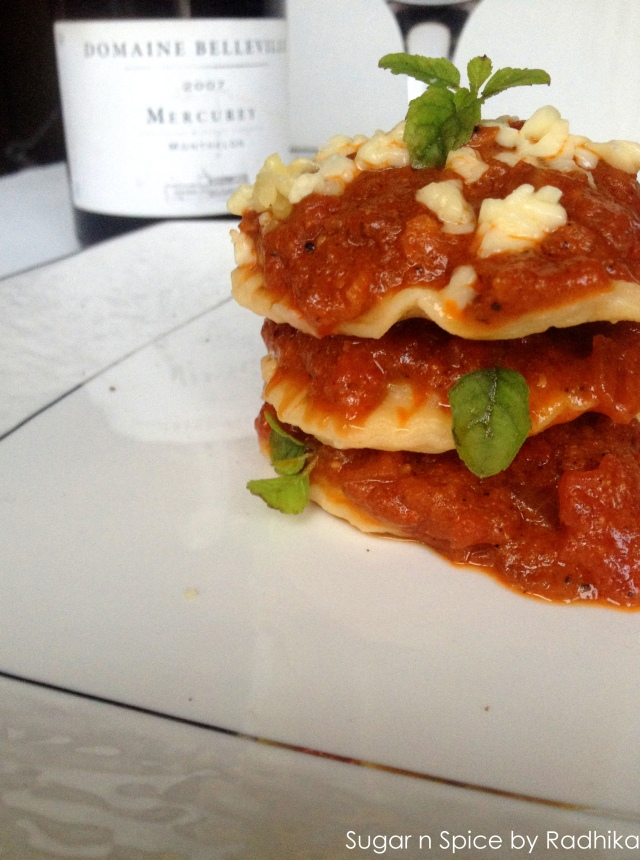 homemade mushroom ravioli with tomato sauce