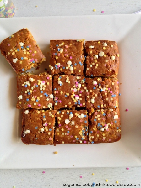 White Chocolate Sprinkle Blondies