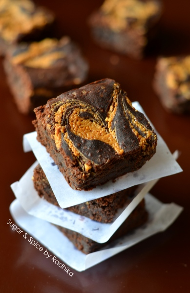 Peanut Butter Swirl Brownies (eggless)