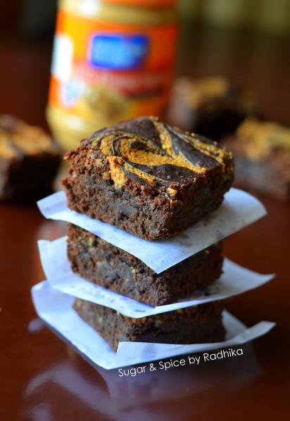 Peanut Butter Swirl Brownies (eggless)