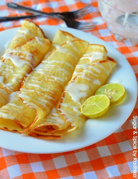 Lemon Crepes with Tangy Lemon Glaze