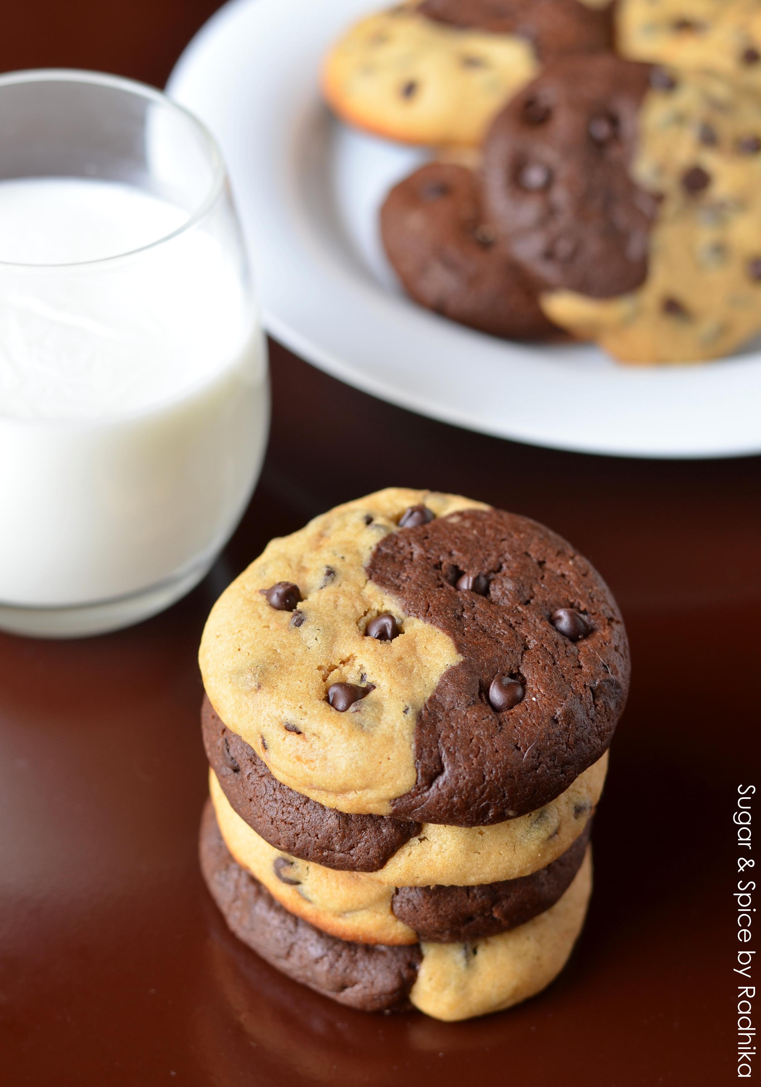 Half And Half Chocolate Chip Cookies Sugar Spice By Radhika