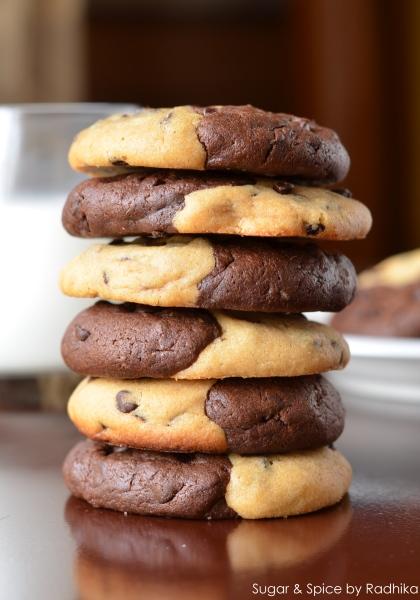 Half and Half Chocolate Chip Cookies