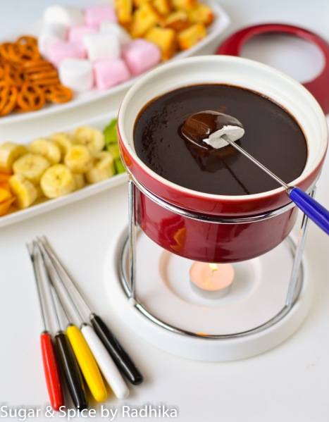 Chocolate Fondue with 6 dipping Ideas