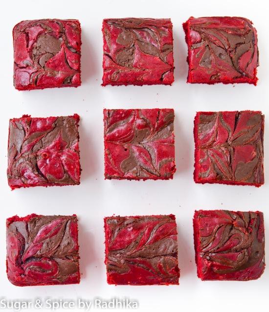 """Red Velvet Chocolate Swirl """"Brownie"""" Bars"""