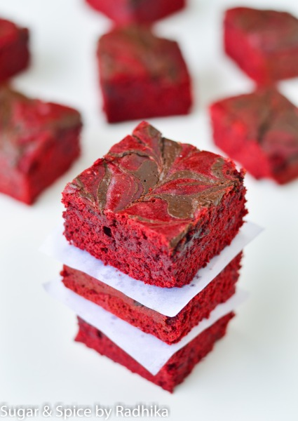 "Red Velvet Chocolate Swirl ""Brownie"" Bars"