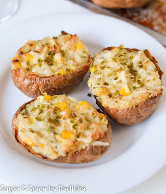 Corn and Cheese Baked Potatoes