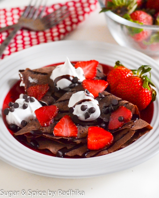 Chocolate Crepes with Strawberries and Whipped Cream