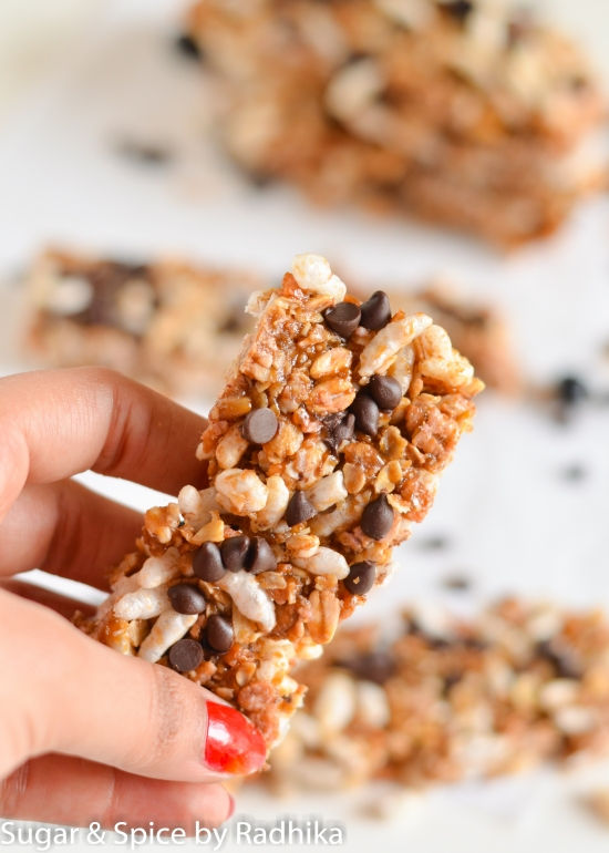 No Bake Chocolate Chip Granola Bars