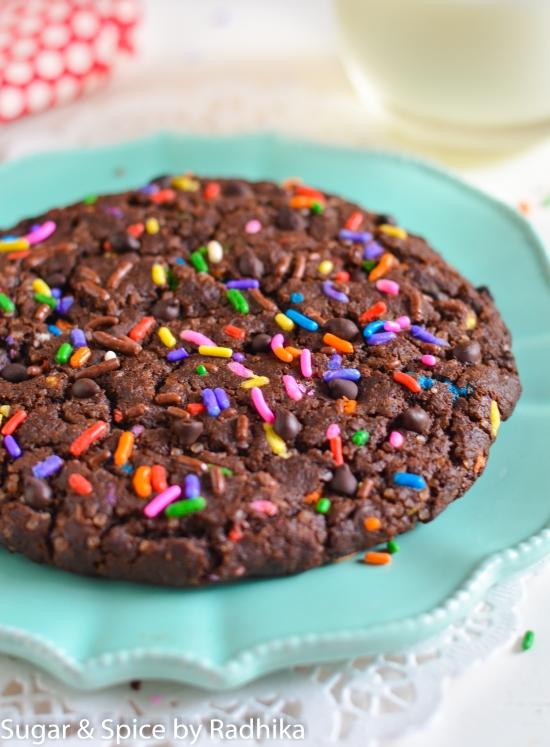 Giant Dark Chocolate Chip Sprinkle Cookie